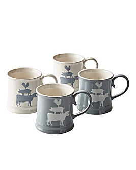 Country Kitchen Tankard Mug set of 4