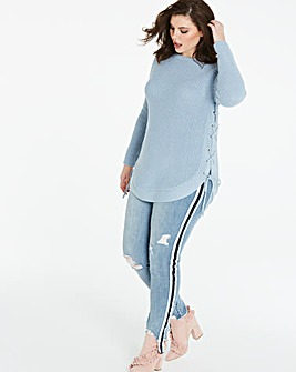 Eyelet Side Seam Jumper