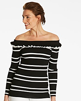 Stripe Bardot Frill Neck Jumper