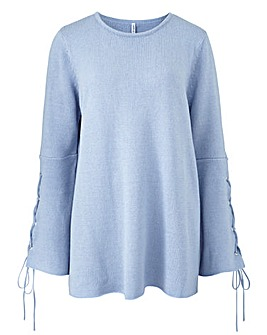 Flared Sleeve Eyelet Jumper