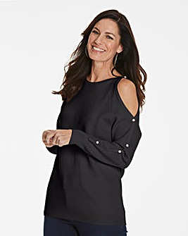 Pearl Trim Cold Shoulder Jumper