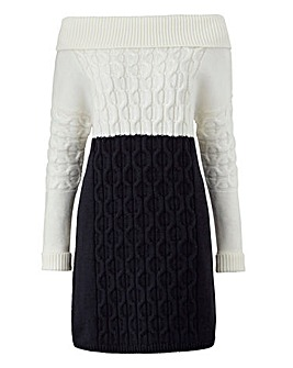 Cable Knit Colour Block Dress