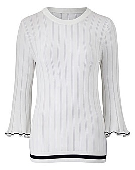 Rib Flare Sleeve Jumper with Detail