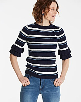 Ruffle Sleeve Stripe Knit