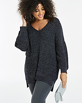 Metallic V Neck Batwing Jumper