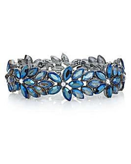 Mood Blue Crystal Floral Bracelet