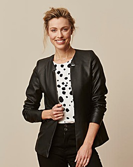 Leather Look Edge to Edge Blazer