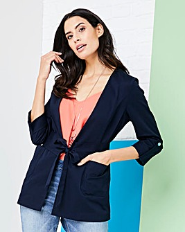 Cotton Sateen Edge to Edge Blazer