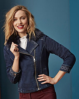 Embroidered Denim Biker Jacket With Fur