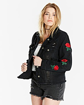 Rose Badge Denim Jacket
