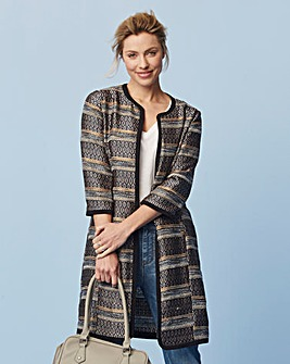 Jacquard Collarless Jacket