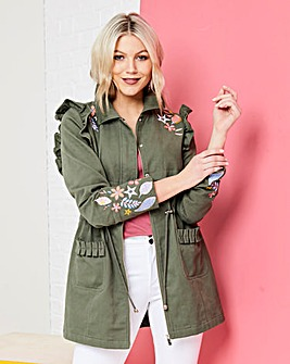 Embroidered Parka with Frill Detail