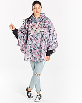 Grey Floral Pac-a-Poncho