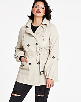 Cropped Cotton Trench Jacket