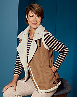 Borg Lined Suedette Gilet
