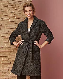 Wool Look Wrap Belted Coat