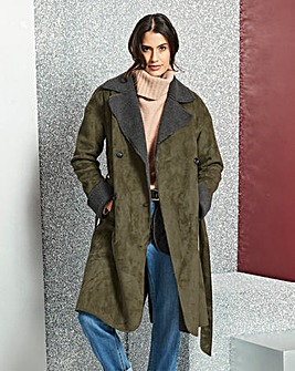 Double Breasted Borg Coat