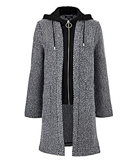 Wool Look Coat With Mock Knit Placket