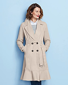 Shower Proof Frill Hem Trench Coat