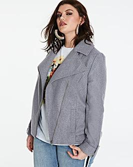Wool Look Biker Jacket