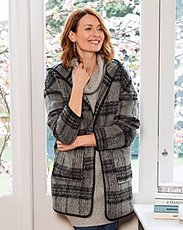 Hooded Check Wool Look Coat