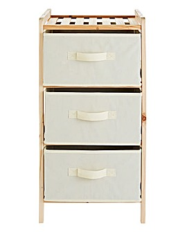 3 Tier Wooden Shelf Unit Canvas Drawers