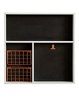 Wood Chalkboard Wall Tray & Metal Basket