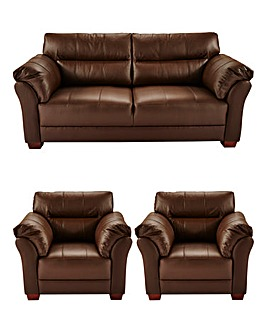 Ancona Leather 3 Seater plus 2 Chairs