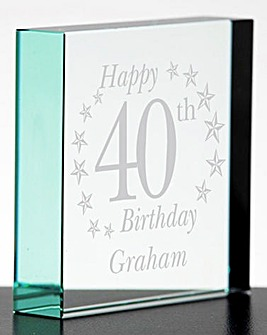 Personalised Birthday Glass Block